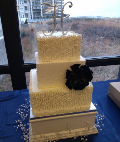 Three Square Tiers with Buttercream Ruffles