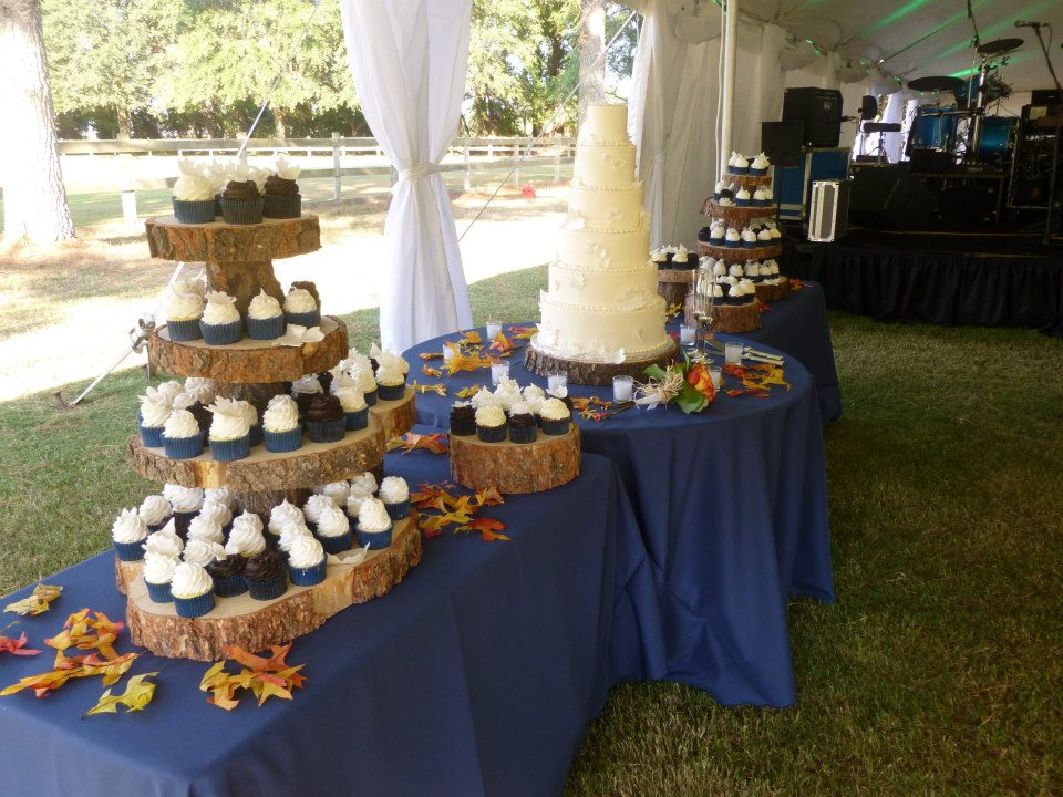 Wedding Cake Ideas For Outdoor Weddings : Outdoor Wedding with Cupcakes and Tiered Cake