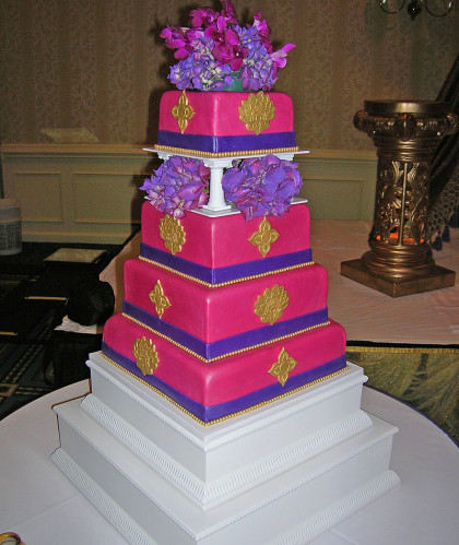 Four Square Tiers with Gold Accents