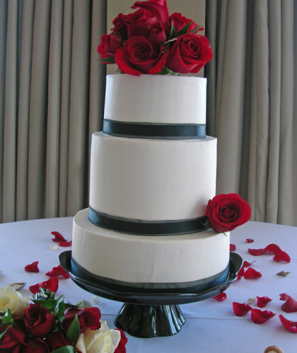 Three Tiers with Fresh Roses