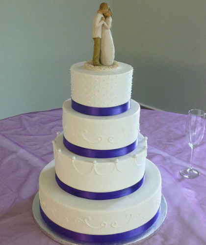 Four Tiers with Purple Trim