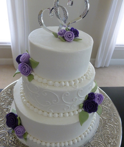 Three Tier White with Purple Roses