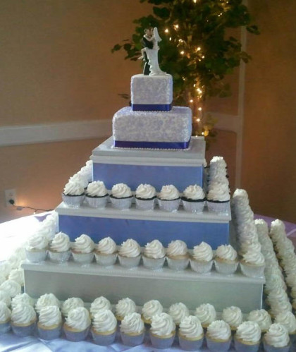 Cupcake Tower with Two-Tier Topper