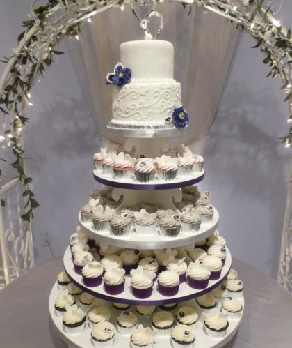 Purple Cupcake Tower with Two Tier Topper