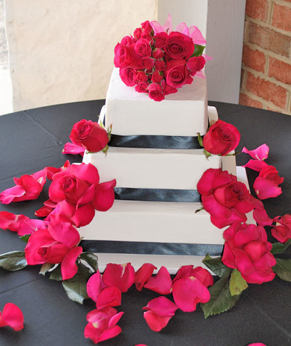 Three Tier White with Black Trim and Red Roses