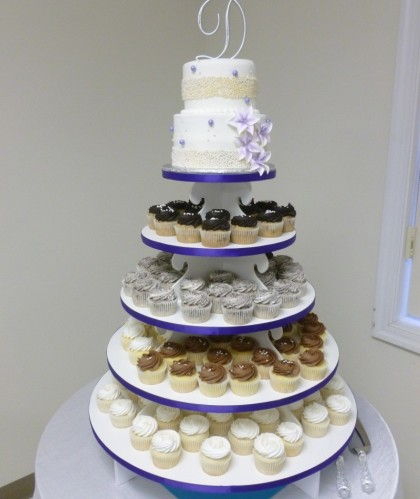 Beaded Purple Cupcake Tower