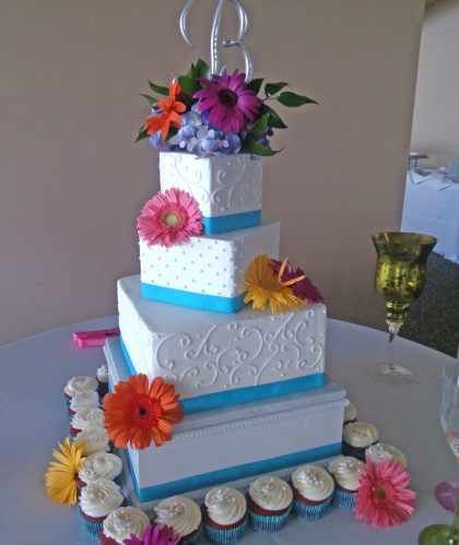 Three Square Tiers with Fresh Flowers