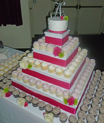 Pink and White Tiered Display