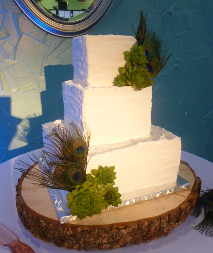 Three Square Tiers with Peacock Feathers