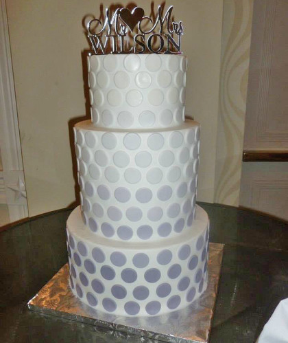 Three Tiers White with Silver Dots