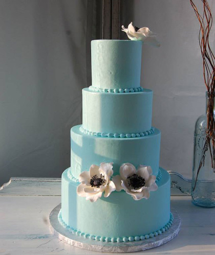 Four Round Tiers with Blue Buttercream