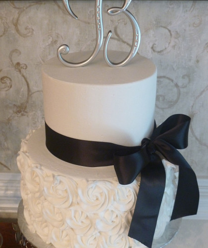 Two Tiers White with Navy Ribbon
