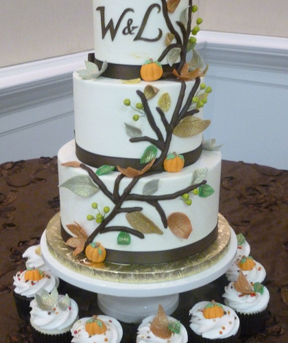 Three Tiers with Fall Leaves