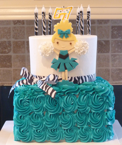 Teal and Zebra With Cheerleader