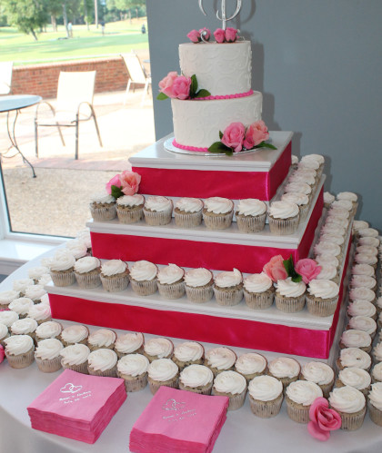 Two Tiers with Cupcakes