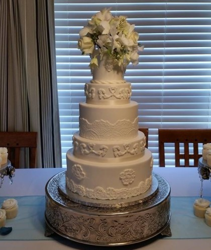 Five Tiers with Fresh Flower Topper