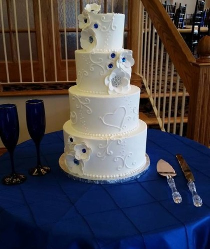 Four Tiers with Royal Blue Accents