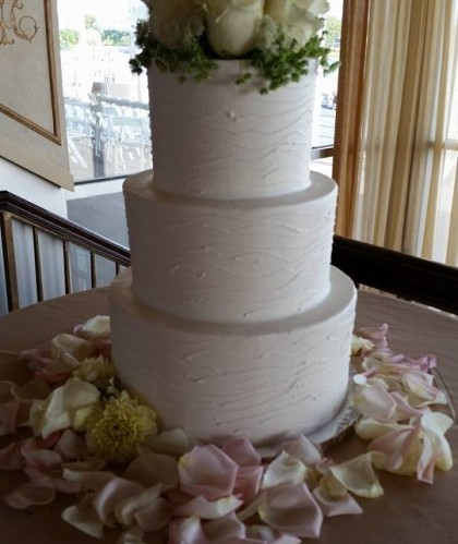 Three Tiers with Fresh Rose Topper