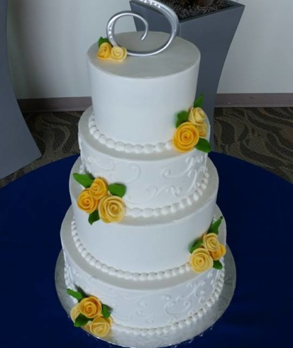 Four Tiers with Yellow Roses