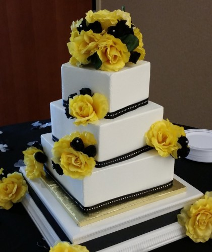 Three Square Tiers with Black Accents and Yellow Roses