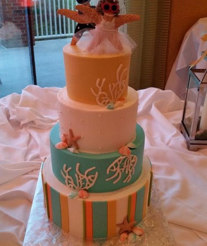 Four Tiers with Starfish and Coral