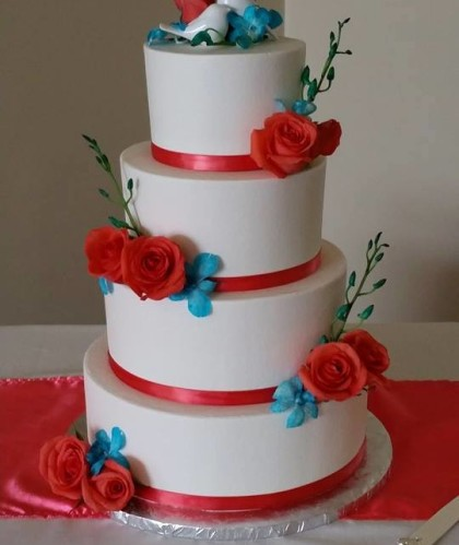 Four Tiers with Roses and Ribbon