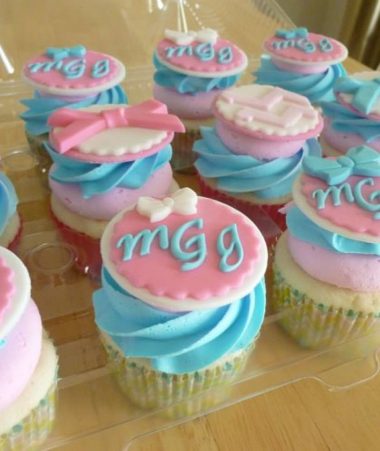 Pink and Blue with Monogram