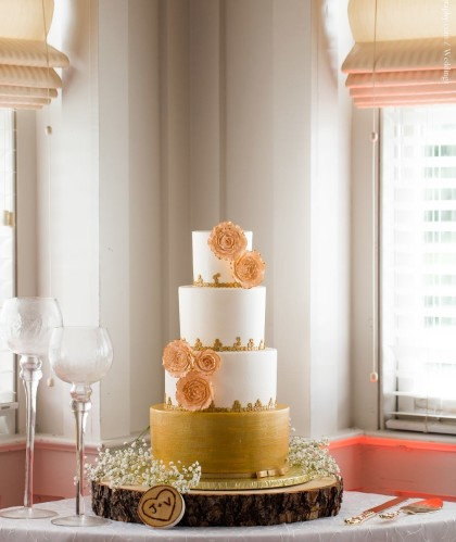 Four Tiers with Gold and Flowers