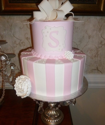 Two Tiers with Pink and White Stripes