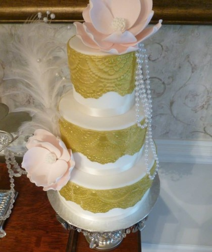 Three Tiers with Gold Lace and Magnolias