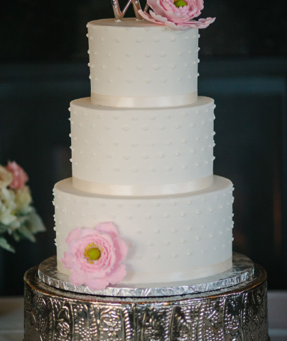 Three Round Tiers with Pink Flowers
