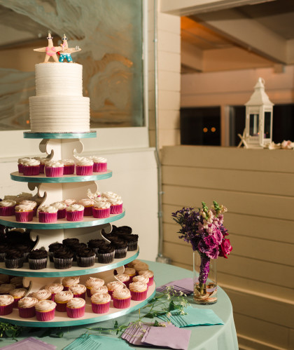 Four Tiers of Cupcakes with Two-Tier Topper