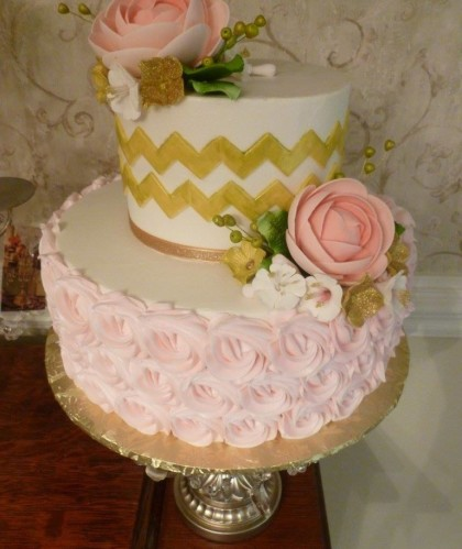 Gold Chevron with Pink Flowers