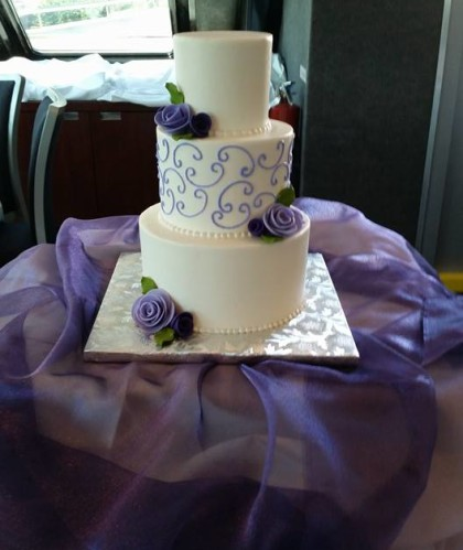Three Tier with Lilac Flowers