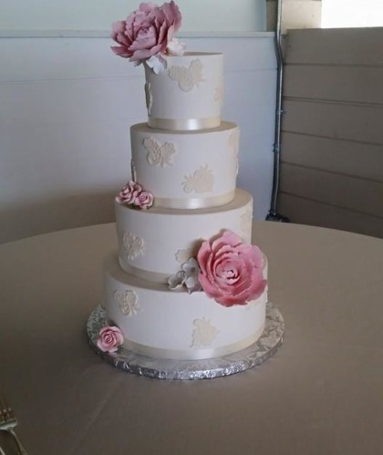Four Tier with Large Flowers