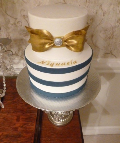 Navy Stripe with Gold Bow