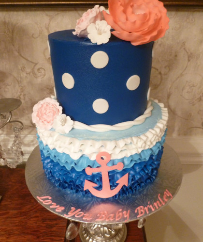 Blue Polka Dot with Anchor