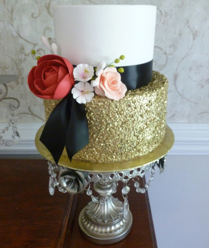 Gold Sparkle with Flowers