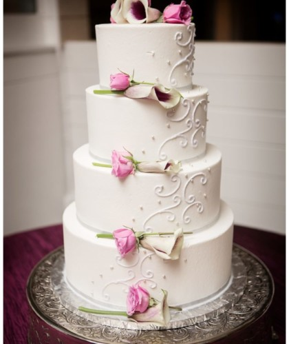 Four Tiers with Lilies and Roses