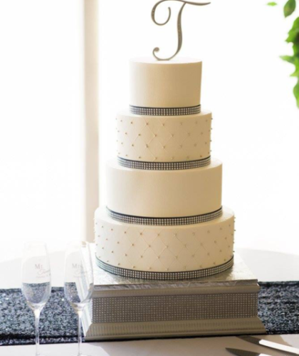 Four Tier with Gray Ribbon