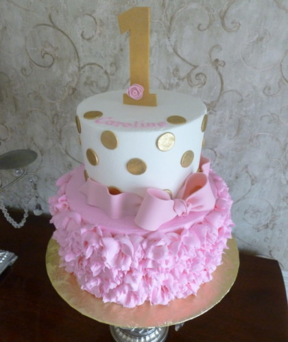 Pink Ribbon and Gold Polka Dots