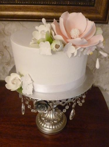 White Single Tier with Flowers