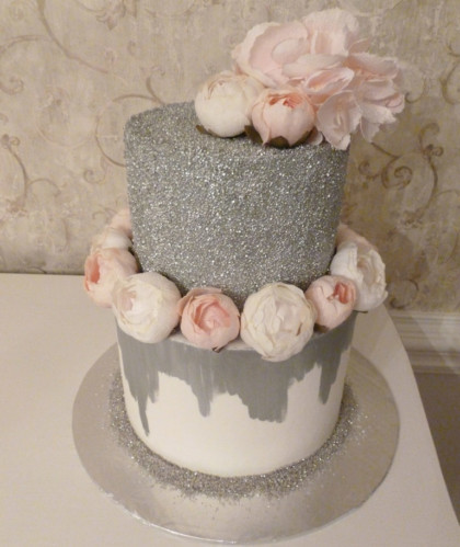 Silver Glitter and Flowers