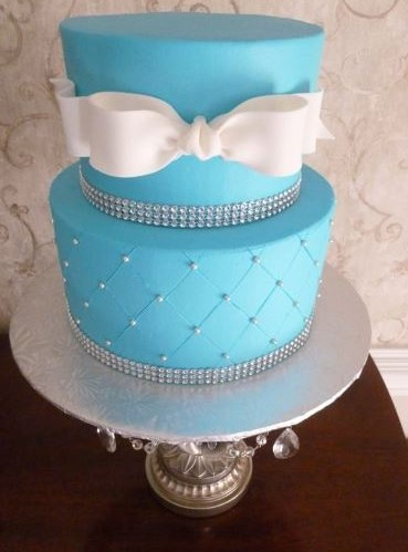 Blue with Pearls and Ribbon