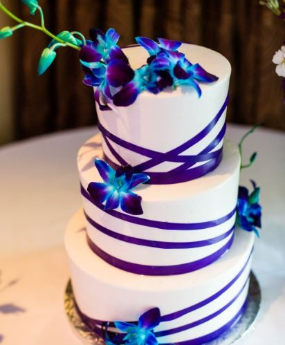 Three Tier Stripe With Orchids
