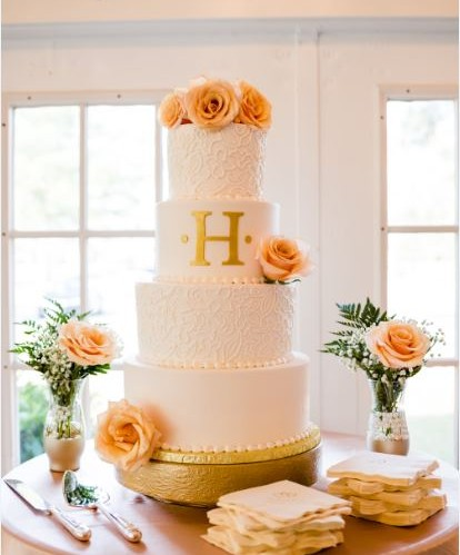 Four Tier Initial With Peach Roses