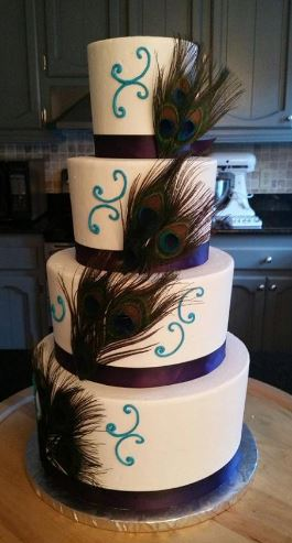 Four Tiers With Peacock Feathers