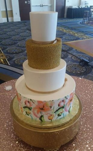 Gold & White With Floral Bottom Tier