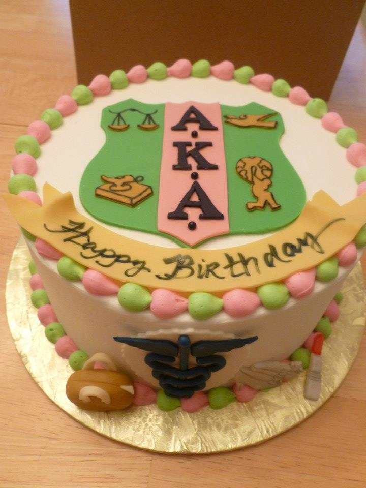 Pink And Green Alpha Kappa Alpha Cakes By Crystal